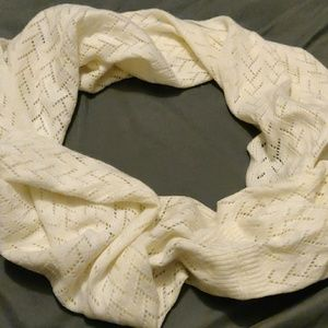 Acryllic light cream colored infinity scarf
